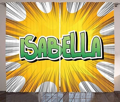 Schlafzimmer Von Isabella (ABAKUHAUS Isabella Rustikaler Gardine, Retro-Stil Cartoon, Schlafzimmer Kräuselband Vorhang mit Schlaufen und Haken, 280 x 260 cm, Gelb Grün und Weiß)