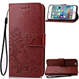 COZY HUT Custodia iPhone 6 Plus / 6S Plus Cover Marrone, Portafoglio Cover con Porta Carte, Funzione Stand, Chiusura Magnetica per Apple iPhone 6 Plus / 6S Plus (5,5 Zoll) - Brown Clover
