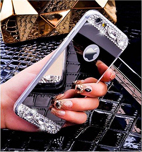 FESELE TPU Specchio Custodia Per iPhone 6s Plus/iPhone 6 Plus Cover, Specchio Soft Case Cristallo Brillantini Trasparente Clear Bling Glitter Shinning Strass Diamante Custodia [Ultra Sottile] Custodia specchio,argento