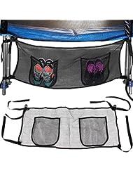 Poche sac de rangement pour trampoline pour objets et chaussures - 111x45cm - Noir