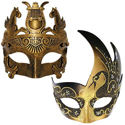 CCUFO Gold / Black Swan Frauen Maske & Gold römischen Krieger Männer Maske venezianischen Paar Masken für Maskerade / Party / Ball Prom / Karneval / Hochzeit / Wanddekoration (Black Halloween-maske Swan)