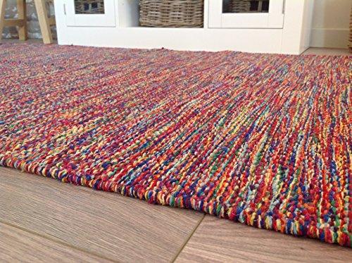 Mano Tejidas hilados de algodón India Alfombra en Multi colores 90cm x 150cm (Second Nature)