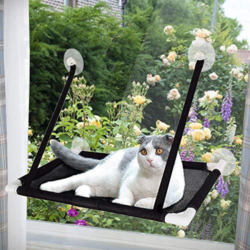 Caracteristicas:   La hamaca de percha de la ventana ofrece a tu gato una posición alta para dormir tranquilamente, disfrutar del sol, el clima y la vista de la naturaleza. Espacio de percha grande: este área de soporte de hamaca de percha de ventan...