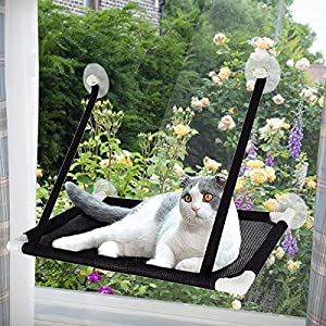 Afufu Cat Hammocks Window, Cat Window Seat, Sunny Seat Window Cat Perches 4 Big Suction Cups Holds Up 10kg, Space Saving and Safety Mounted Cat Bed (Black)
