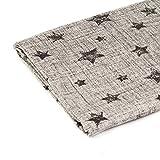 Jersey Stoff gemustert als Meterware |Muster: Sterne auf grau melange|100cm x 160cm|92% Baumwolle, 8% Elasthan|Mehrere Farben zur Auswahl|Jersey|1buy3