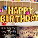 "Party Hour Happy Birthday Banners Foil Balloons Gold with ""Free"" 24 Glue Dots for Easy décor on The Wall for Party Decorations"