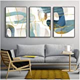 Kkglo 3 Piece Canvas Wall Art Nordic Abstract Blue Painting Golden Line Modern Poster Print Picture For Living Room Bedroom H