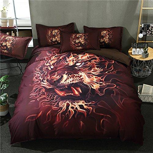 4 Stück King Quilt (OOFAY 3D Digitales Drucken Bettwäsche Decke Decke Feuer Löwe Quilt Bettwäsche Vier Stücke Set,King)