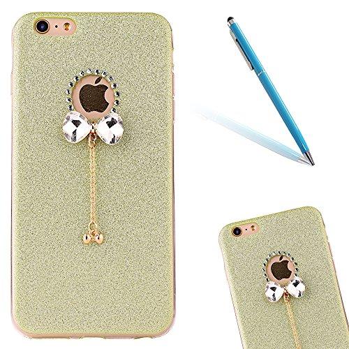 Clear Crystal Rubber Protettivo Case Skin per Apple iPhone 5/5s/SE, CLTPY Moda Brillantini Glitter Sparkle Lustro Progettare Protezione Ultra Sottile Leggero Cover per iPhone 5, iPhone 5s, iPhone SE + Verde