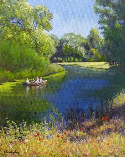 divertimento-di-canottaggio-25cmx20cm-fiume-in-estate-pittura-divertimento-in-famiglia-barca-a-remi-