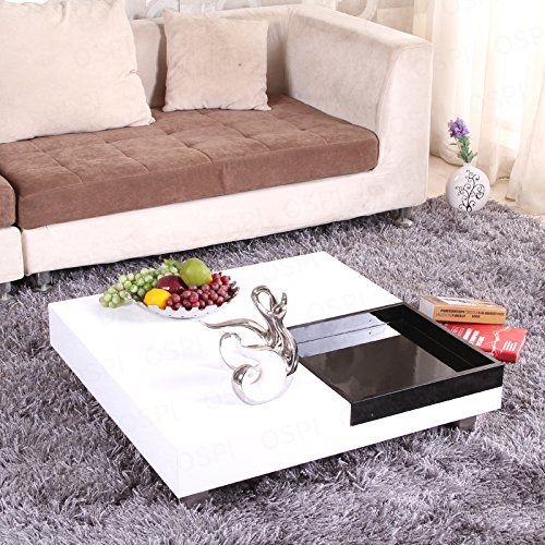 OSPI White Gloss Square Coffee Table /Low Table with Black ...