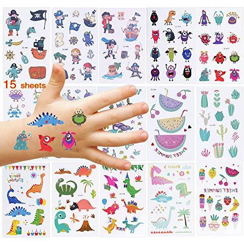 Nabance Kinder Tattoo Set 230 Dinosaurier Monsters Piraten Tattoo Set Temporäre Kinder Tattoos Kindertattoos Aufkleber Mitgebsel Kindergeburtstag Gastgeschenke Aufkleber Sticker für Jungen Mädchen