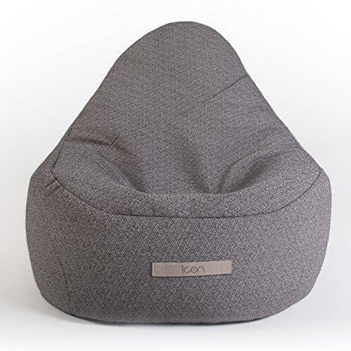 Icon Tumbona Serenity - Sillón Tipo puf de Lujo reclinable, Grande, Moderno para Exteriores e Interiores - Tumbona de jardín Impermeable (Gris Sombra, 1)