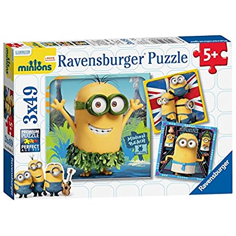 Minions 3 x 49 Piece Puzzle & Inspirational Fridge Magnet