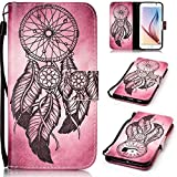 SmartLegend Samsung S6 Case , Samsung Galaxy S6 Cover Strap Leather Wallet Case Colorful Arting Painting Pattern Design PU Bumper with Magnet Closure and Card Slots Holster Stand Function Smartphone Protective Case -Feather Windbell