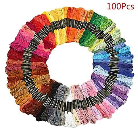 sunnymi Regenbogen Farbe Kreuzstich Threads,Premium Embroidery Floss 24/50/100/150 Farblinie,Handstickerei, Kreuzsticharbeit, Freundschaftsarmbänder, Dekorationen (100 Farblinie)