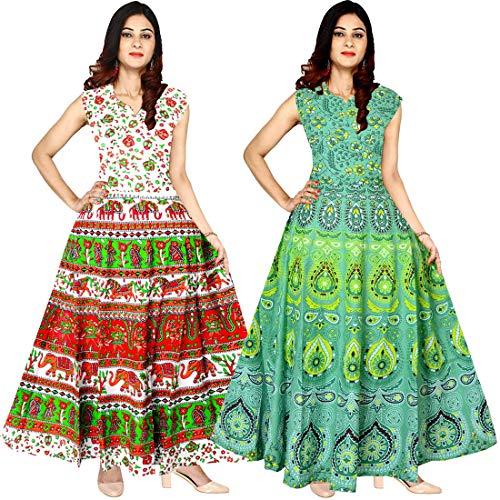 Silver Organisation Women\'s Cotton Jaipuri Printed Maxi Long Dress (Combo of 2 pcs)