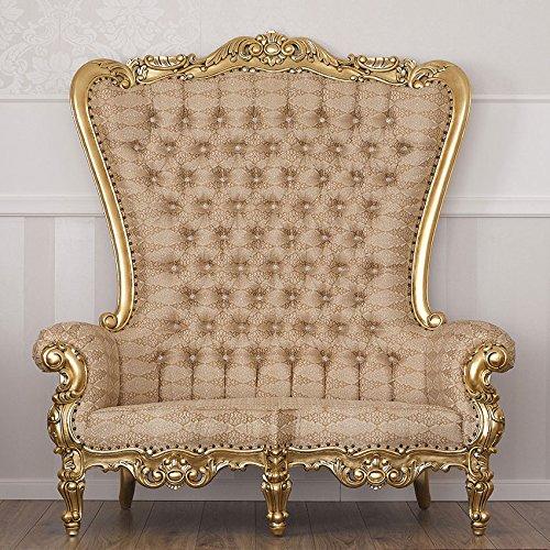 Simone Guarracino Sofa Französisch Barock-Stil Blattgold Damststoff Elfenbein Gold...