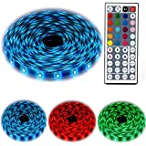 RMFSH Led Light Strip, 5M 16.4Ft, 5050 RGB 300LEDs ,Flexible Color Changing, Full Kit With 44 Keys IR Remote Controller, Control Box, 12V 5A Power Adapter For Home Decoration