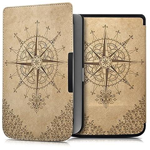 kwmobile Housse élégante en cuir synthétique pour Pocketbook Touch Lux 3 / Touch Lux 2 / Basic Lux / Basic 3 / Basic Touch 2 en Design Boussole baroque brun foncé beige