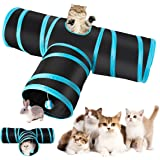 Futurekart Cat Tunnel Kitten Dog Rabbits Cat Interactive Toy Play Toy Foldable Pet Cat Toy with Ball Tunnel (3 Way, Dark Blue