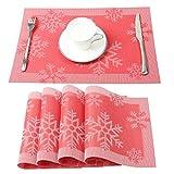 Homcomoda Weihnachtliche Platzsets Abwaschbar Vinyl Platzdeckchen für Den Esstisch 4er Set 30 x 45 cm (Rot)