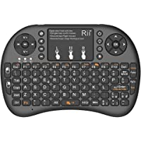 Rii Mini i8+ Wireless (layout ITALIANO) - Mini tastiera retroilluminata con mouse touchpad per Smart TV, Mini PC, HTPC…