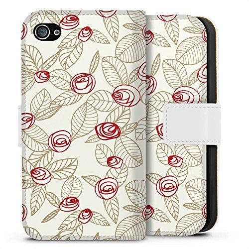 Apple iPhone X Silikon Hülle Case Schutzhülle Rosen Blumen Blätter Sideflip Tasche weiß