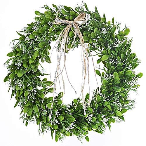 GUFIKY 40,6 cm künstlicher grüner Blattkranz mit Schleife für die Haustür, für Zuhause, Büro, Wand, Hochzeit, Dekoration -