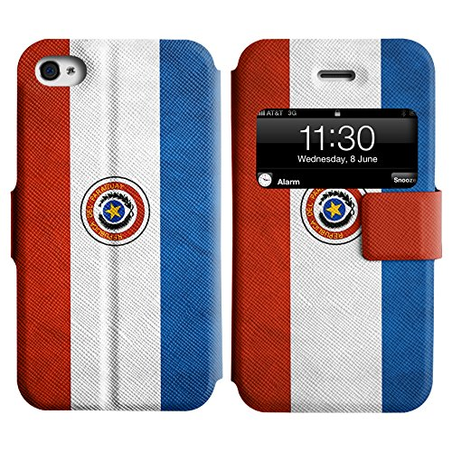 Graphic4You Vintage Uralt Flagge Von Mexiko Mexikanisch Design Leder Schützende Display-Klappe Brieftasche Hülle Case Tasche Schutzhülle für Apple iPhone 4 und 4S Paraguay Paraguayer