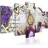 Cuadro 200x100 cm - 3 tres colores a elegir - 5 Partes - Formato Grande - Impresion en calidad fotografica - Cuadro en lienzo tejido-no tejido - Vintage Reloj f-A-0011-b-n 200x100 cm B&D XXL