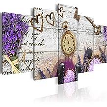 murando Cuadro en Lienzo 200x100 cm - 3 tres colores a elegir - 5 Partes - Formato Grande - Impresion en calidad fotografica - Cuadro en lienzo tejido-no tejido - Vintage Reloj f-A-0011-b-n 200x100 cm