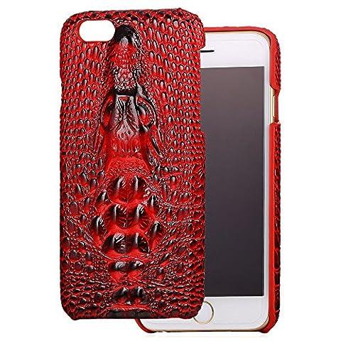 Coque iPhone 6 Plus/6s Plus, Bandmax Housse Étui de Protection en Cuir PU 3D Crocodile Skin Back Bumper Cover Coque Arrière Souple pour iPhone 6+/6s+(5,5