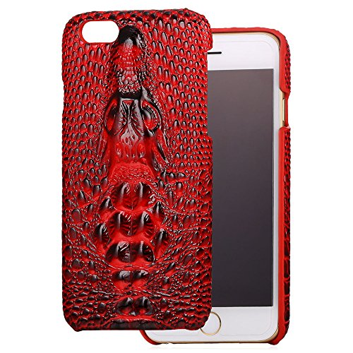 iPhone 7 Custodia, Bandmax Cool 3D Crocodile Skin Back Bumper Cover Women/Men High Quality PU Leather Shock Resistant Protective Cases for iPhone 7 (Red) Rosso