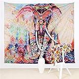 Hailicare 150x130cm Psychedelic Elefant Blumenmuster Tapisserie Hippie Mandala Gypsy Bohemian Traditionelle indische Wandbehang Tabelle Vorhang Wand Decor Tisch Couch Bezug Picknick Decke Beach Überwurf, E02