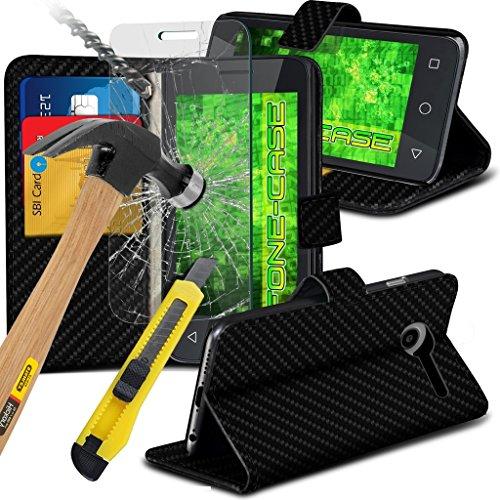 Fone-Case ( Black Carbon ) High Quality Google Pixel XL Hülle Abdeckung Cover Case schutzhülle Tasche Executive-Mappen-Buch-Art-Abdeckung gebildet vom PU-Leder mit 3 Kreditkarte-Halter-Steckplätze, 1 x ausgeglichenes Glas