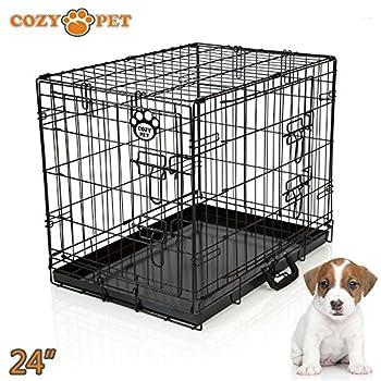 Cozy Pet Deluxe Cage pliante en métal avec 2 portes pour Chiot, Chien Caisse avec plateau métallique, Caisses, Cages en Noir Taille 60cm