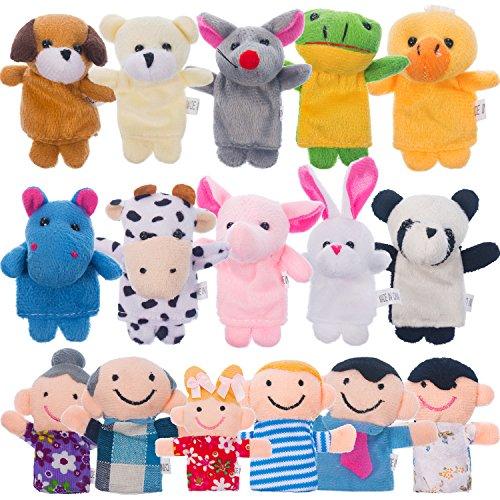 Jovitec 16 Stücke Fingerpuppen Verschiedene Familie und Tier Stil Cartoon Fingerpuppen für Kinder Nette Samt Weiche Tier Fingerpuppen Baby Geschichte Zeit