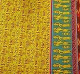 Kleid, das Gelb Stoff Designer Cotton Pictorial Stoffdruck