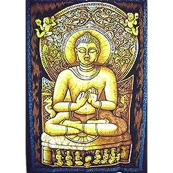 Pintado a mano Buda Póster Tapestry, india Póster, arte de pared religiosa, de flores de dormitorio Decor, Hippie decoración de la pared