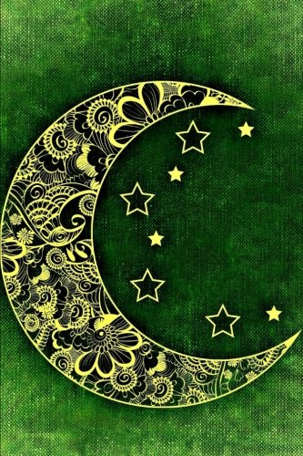 a-filagree-crescent-moon-and-stars-on-a-green-background-journal-150-page-lined-notebook-diary