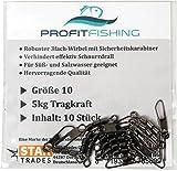 PROFITFISHING Profit Fishing Dreifachwirbel I 10 Stk I Gr. 10 (5kg) I Angel Wirbel Für Sbirolino Angeln, Spinner, Twister, Blinker I Verhindert Schnurdrall I Angel Wirbel mit Karabiner