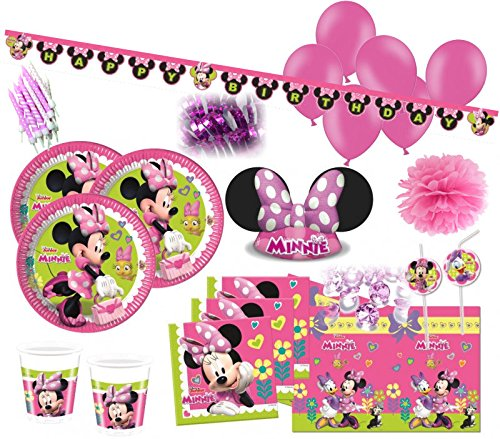 XXL 84 Teile Disney Minnie Maus Happy in Pink Party Deko Set - für 6-8 Kinder