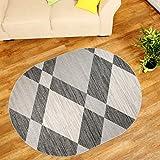 Teppich Wohnzimmer Oval - Teppiche Meliert Kurzflor Muster Karo - Farbe Grau Qualität Neu 160 x 220 cm