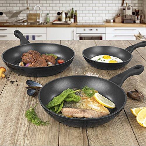 BRATmaxx Pfannen geschmiedet 3-tlg. 20/24/28cm in Schwarz für Ei, Fisch & Fleisch