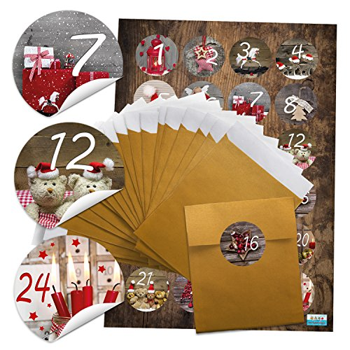 Download Set 24Calendrier de l'Avent couleur or sachets (9,5x 14cm) + 24rondes photo motifs autocollants Stickers 4cm Calendrier de l'Avent chiffres 1à 24à remplir