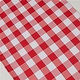 TRLYC - Chemin de table à carreaux - Style rustique - Pour mariage, fête prénatale, anniversaire, pique-nique, fête ou autre événement spécial Qty:1 rouge/blanc