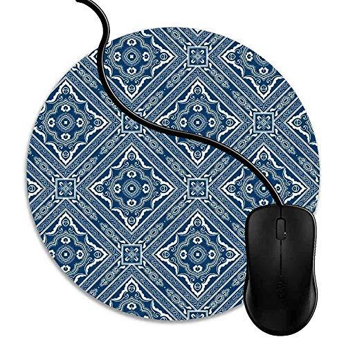 Mauspad Blaue weiße Indigo-Fliesen, Runde Gaming Mauspad Matte Reibungslos Weich Rutschfester Gummi Basis für PC Laptop 1J1406