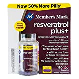 SUPERIOR QUALITY AND PERFORMANCE JUMBO SIZE Member's Mark RESVERATROL PLUS+ CARDIOVASCULAR/ANTIOXIDANT PROVIDES 100 MG TRANS-RESVERATROL THE SECRET OF RED WINE FOR TOTAL HEART HEALTH WITH PTEROSTILBENE FOR SUPERIOR ANTIOXIDANT PROTECTION 180 CAPSULES DIET