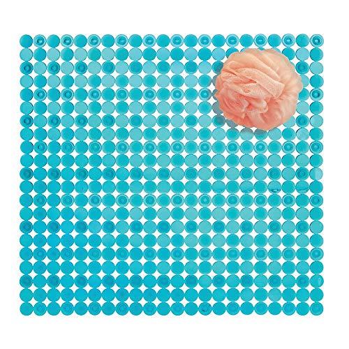 mDesign Alfombra de ducha de plástico PVC - Alfombra antideslizante rectangular para el baño con ventosas - Moderna alfombra de baño para ducha y bañera - azul